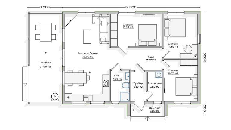 Чертёж первого этажа INW-041