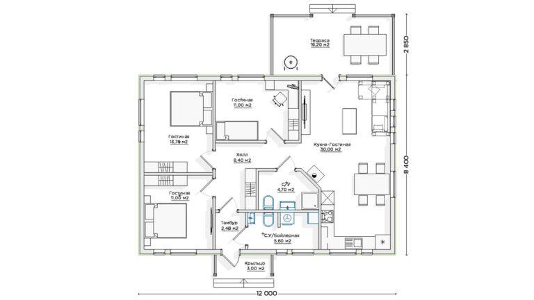 Чертёж первого этажа INW-044