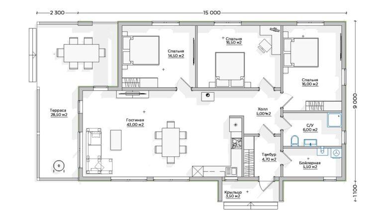 Чертёж первого этажа INW-050