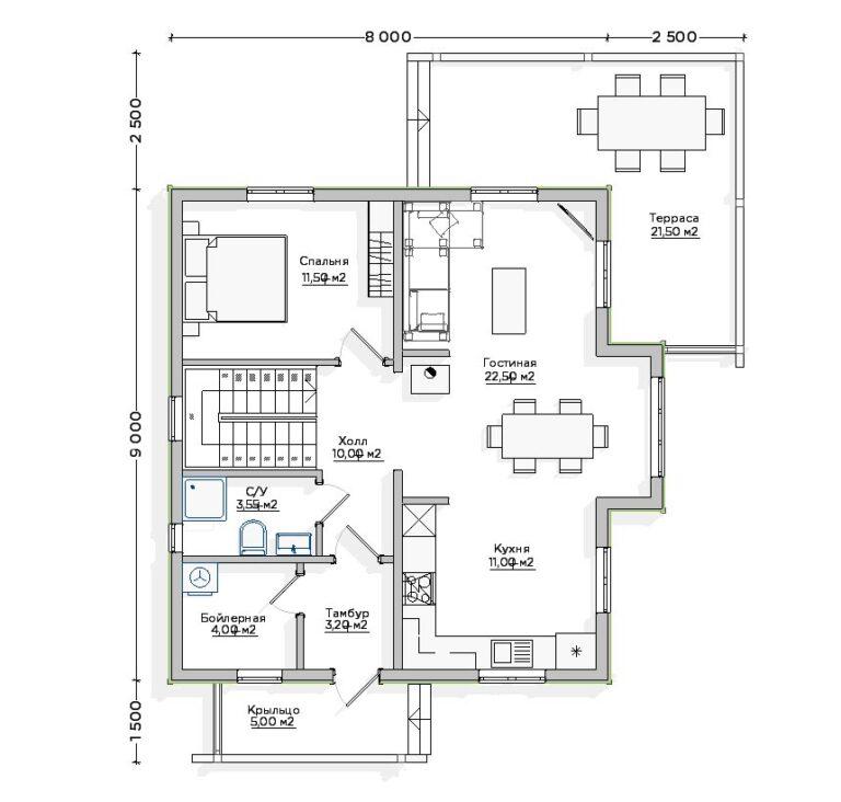 Чертёж первого этажа INW-045