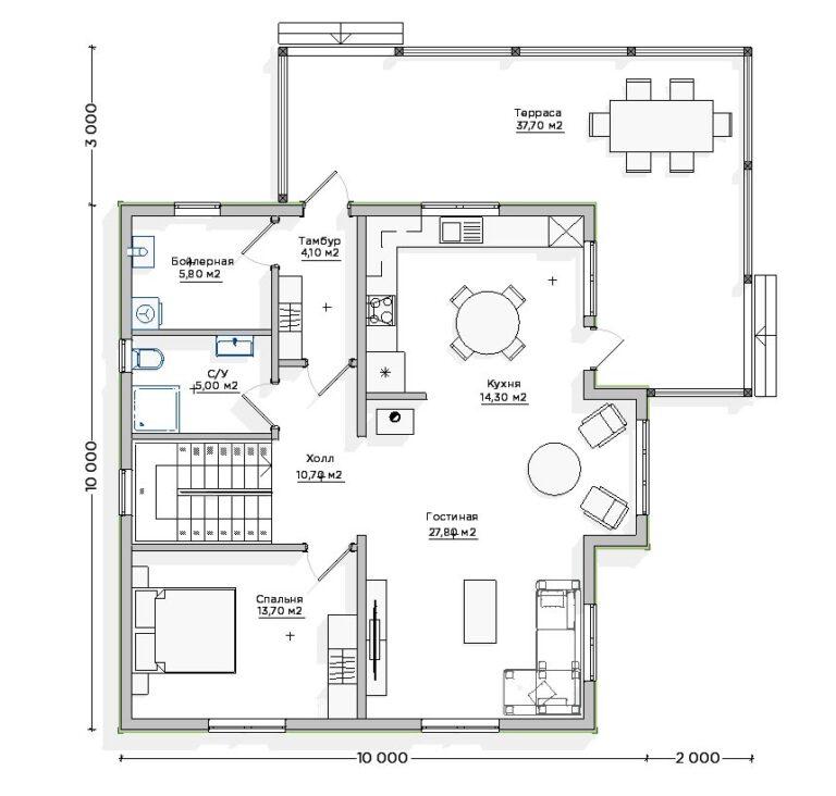 Чертёж первого этажа INW-046