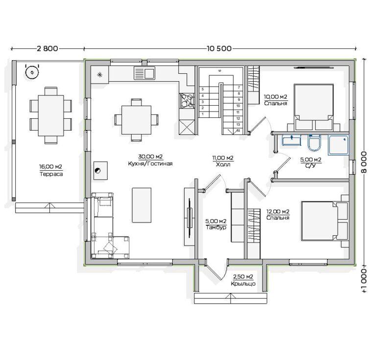 Чертёж первого этажа INW-049